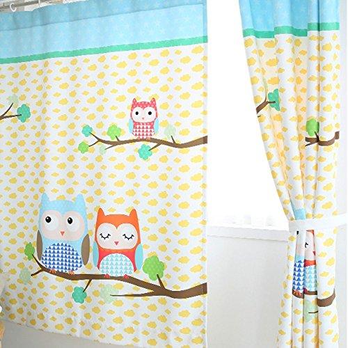Fadfay Parure Cartoon Owl Enfant Rideau Pour Chambre, Pour œuf Jaune Du0027oeuf  Nuages De Rideau, Moderne Branche Du0027arbre Enfants Rideaux, 2panels: Amazon.fr:  ...