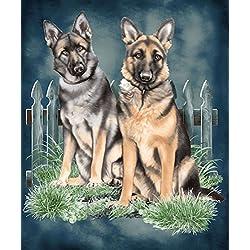 German Shepherds Dog JQ Signature Plush Queen Blanket - Dedication Design