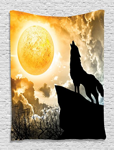 Scary Silhouette Hung (Animal Tapestry Black Wolf Silhouette Howling Thunderstorm Full Moon Light Mystic Night Monochrome Scary Scene Art Charcoal Decor Tapestry Hanging Dorm Bedroom Living Room, Yellow White and Black)