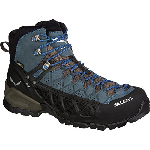 Mountain Boot Edge (Salewa Men's Alp Flow Mid GTX Alpine Trekking Boots, Black Olive/Royal Blue, 10)
