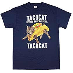 TACOCAT Spelled Backwards is TACOCAT Kitty Cat Navy Graphic T-Shirt - X-Large