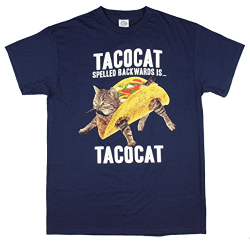 TACOCAT Spelled Backwards is TACOCAT Kitty Cat Navy Graphic T-Shirt - Medium