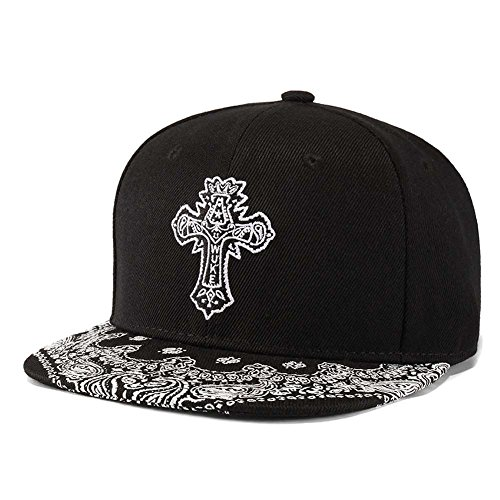 Embroidered Paisley Cross Baseball Cap, Floral Paint Flat
