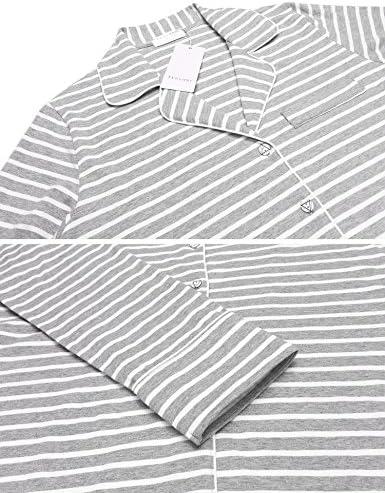 Ekouaer Women's Pajamas Long Sleeve Sleepwear Casual Button Down Loungewear Soft Pjs Set S-XXL