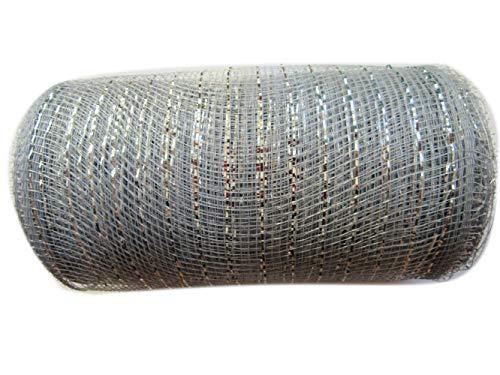 6 inch x 30 feet(10 Yards)-YYCRAFT Metallic Deco Poly Mesh Ribbon(Silver)