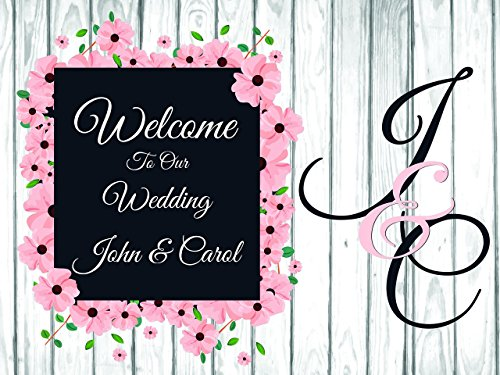 Custom Welcome to Wedding Party Poster Big Initials - sizes 36x24, 48x24, 48x36; Personalized Wedding Home Decorations, Handmade Party Supply Photo Booth (Homemade Halloween Photo Backdrops)