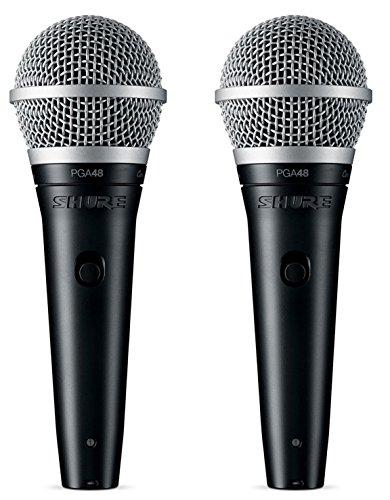 Shure PGA48-QTR Vocal Microphone w/XLR-QTR Cable (2 Pack)