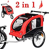 Giantex Pet Dog Bike Trailer Bicycle Trailer Stroller Jogging w/ Suspension Red