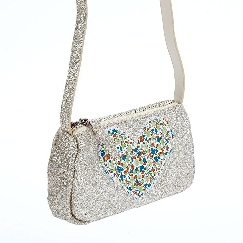 Price comparison product image Peppercorn Kids Girls Glitter Purse with Heart Applique-Champagne Silver, One Size