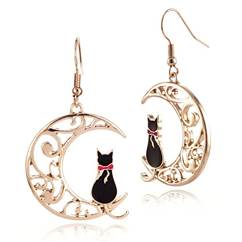 MIXIA Cute Anime Cartoon Sailor Moon Animal Cat Moon Earrings Gift for Girls Women Jewelry (Black)