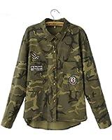 PiterNace Stylish 1PC Denim Jacket Women Denim Shirt Military Camouflage Blouse Coat Casual Fashion Jaqueta Feminina
