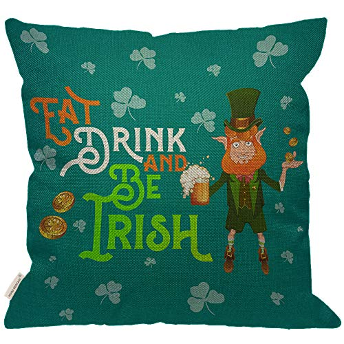 Irish Throw Cotton (HGOD DESIGNS St Patrick Day Quotes Throw Pillow Cover,Leprechaun Irish Style Costume Eat Drink and Be Irish Beer Coins Shamrock Cylinder Hat Burlap Pillow Cases Decorative for Couch Bedroom 18x18Inch)