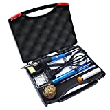 Sywon 60W 110V Electric Soldering Iron Kit, Tips Cleaner, Adjustable Temperature, Solder Sucker, Tin Wire Tube, Stand with Cleaning Sponge and Tips in Carry Case