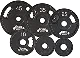 York Barbell 7425 G2 Olympic Dual Grip Thin Line Cast Iron Plate44; Black – 45 lbs Review