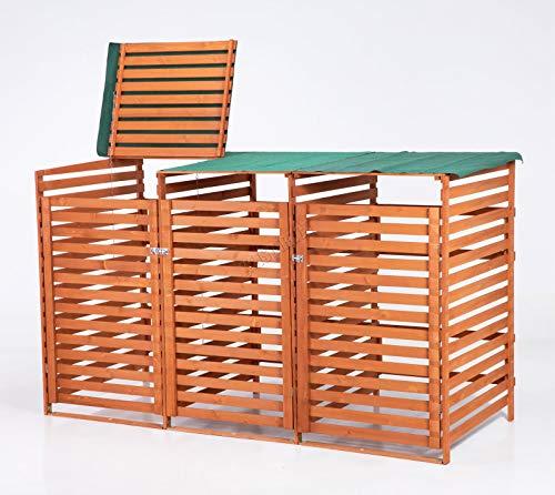 BIRCHTREE Triple Wooden Wheelie Bin Storage