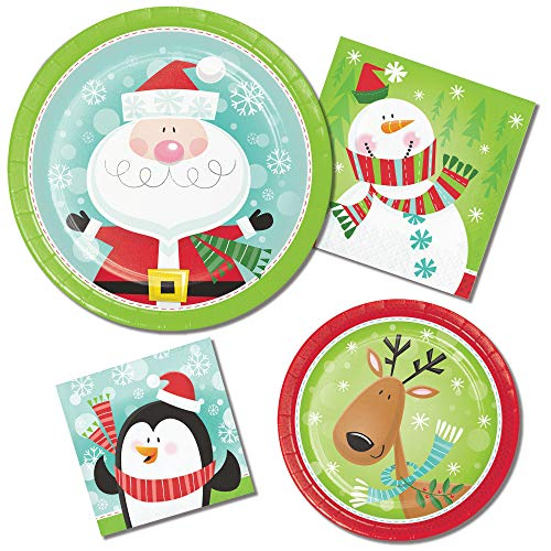 Christmas Paper Plates and Napkins - Characters of Christmas Theme Featuring Penguins Snowman Reindeer and Santa - 64 Total