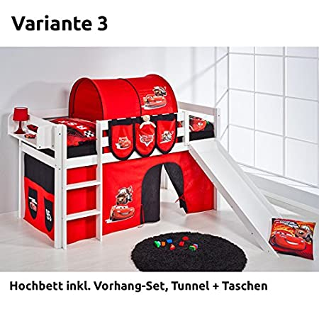 Jelle Disney Cars Loft Bed With Slide And Curtain White Version 3