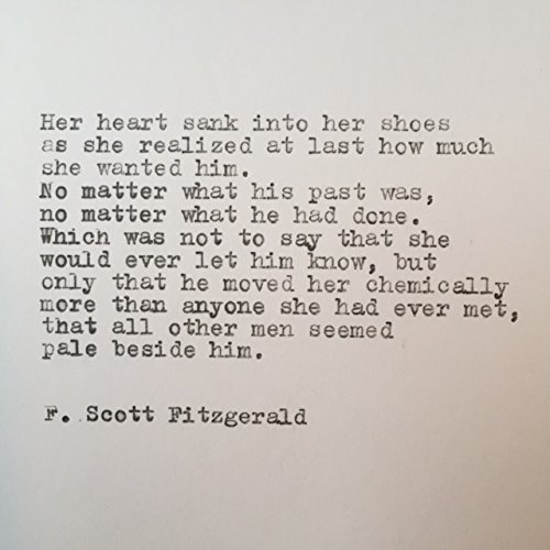 F. Scott Fitzgerald Hand Typed Love Quote On Vintage Typewriter
