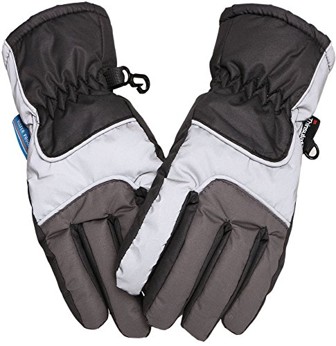 Simplicity Kids Thinsulate Lined Waterproof Ski Gloves,M,Black/grey
