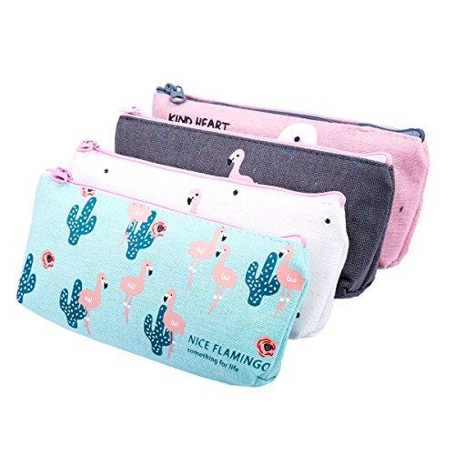 Trousses Scolaire, Cymax mignon Flamingo toile trousse à crayons grand maquillage cosmétique stylo crayon papeterie stockage sac pochette,ensemble de 4