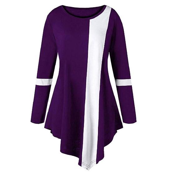 Damen Langarm T-Shirt Pulli Rundhals Ausschnitt Hemd Sweatshirt mit Streifen  Jumper Tops Pullover Patchwork Bluse Mode Asymmetrisch Langarmshirts  Spleißen ... 88b3a2e14e