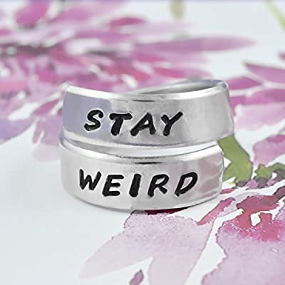 STAY WEIRD - Hand Stamped Aluminum Spiral Wrap Twist Ring, Friendship ring, Stranger Things Inspired, Unique gift ideas, Stocking Stuffer, Pesonalized Gift