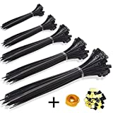 KASZOO Zip Ties 500 Pcs Nylon Cable Zip Ties with Self-Locking 4/6/8/10/12 Inch Black UV Resistant Heavy Duty