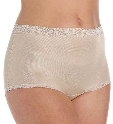 (Lorraine Nylon Full Brief with Lace Trim Panty (LR102) 13/Buff)