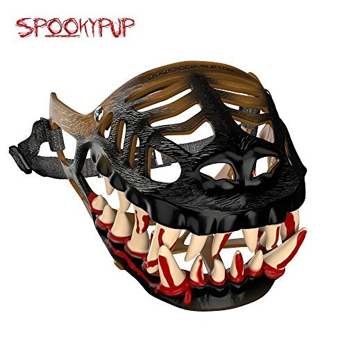 SpookyPup Hilarious Dog Costume Muzzle with Large Scary Teeth – Get Your Dog to Join the Fun (Medium)]()