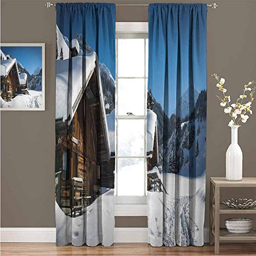 Winter Soundproof Insulated Blackout Curtains Wooden Houses on Austrian Mountains Snowy Forest Cottage Holiday Destination Photo Drape for Party Decoration W120 x L108 Inch