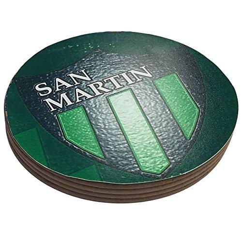 Four Round Coasters Glossy Custom Plastic Effect Argentina Futbol Soccer San Martin San Juan