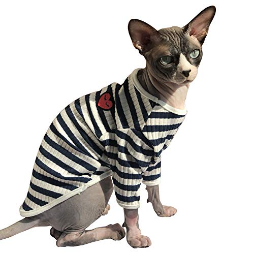 DENTRUN Hairless Cats Shirt Cat Wear Clothes Stripe Vest Best Hairless Cat