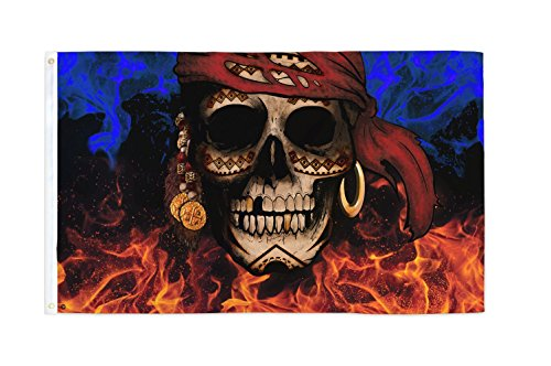 Pieces of 8 3x5 Ft Skull Pirate MC Biker Flag - Bold Vibrant Colors, UV Resistant, Golden Brass Grommets, Durable 100 Denier Polyester, Mighty-Locked Stitching - Perfect for Indoor or Outdoor Flying!