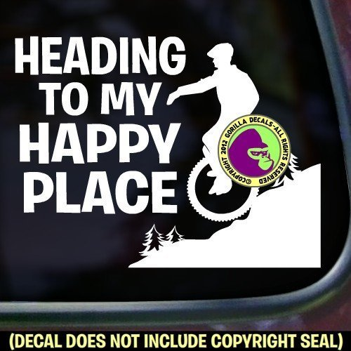 HAPPY PLACE Mountain Unicycle Vinyl Decal Sticker C