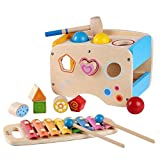 Baby : Rolimate Wooden Learning Hammering & Pounding Toys + 8 Notes Xylophone + Shape Color Recognition, Best Birthday Gift Toy for age 3 4 5 Years Old and Up Kid Children Baby Toddler Boy Girl