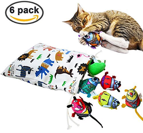 Loobani Interactive Cat Toys Mice 6 Pack with Durable Container, Stuffed Fresh Natural Catnip Treats For Kittens Chew Exercise Play Indoor and Outdoor