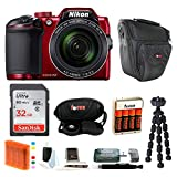 Nikon COOLPIX B500 Digital Camera (Red) with 32GB Memory Card & Focus Bundle