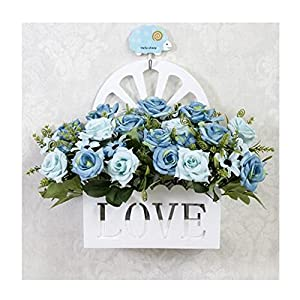 LuckySHD Artificial Rose Fake Flowers with Hanging Basket for Decoration 68