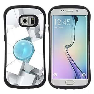 "Pulsar iFace Series Tpu silicona Carcasa Funda Case para Samsung Galaxy S6 EDGE , Gota Art 3D Cube Polígono Blanca"""