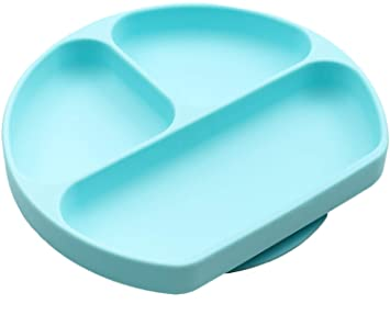 04dbc7878dd5 SiliKong Suction Plate for Toddlers, Blue, Fits Most Highchair Trays, BPA  Free, Divided Baby Feeding Bowls...