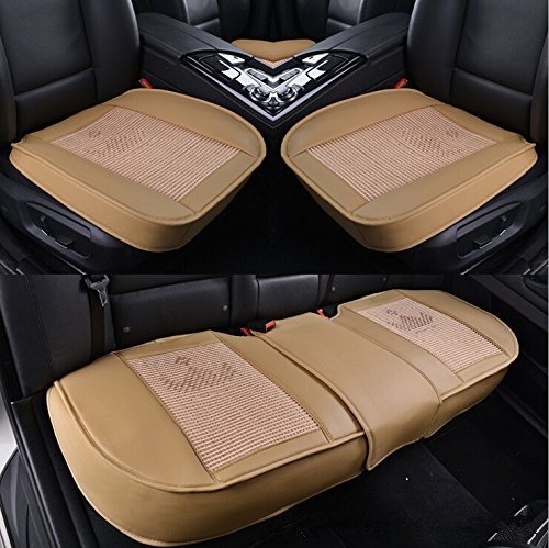 Auto Interior Accessories Styling PU Leather Charcoal Full Car Seat Cover Pad Seat cushion Mat Protective Cover for Car/ Office Chair ,Universal Seatpad (Back&Front Row) (Full Car Styling)