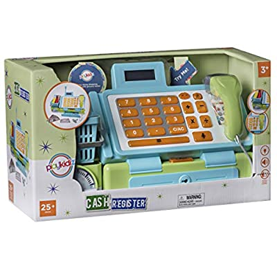 Playkidiz Interactive Toy Cash Register for Kids - Sounds & Early Learning Play Includes Play Money Handheld Real Scanner Working Scale & Calculator, Live Microphone Food Boxes Plastic Fruit & Basket: Toys & Games