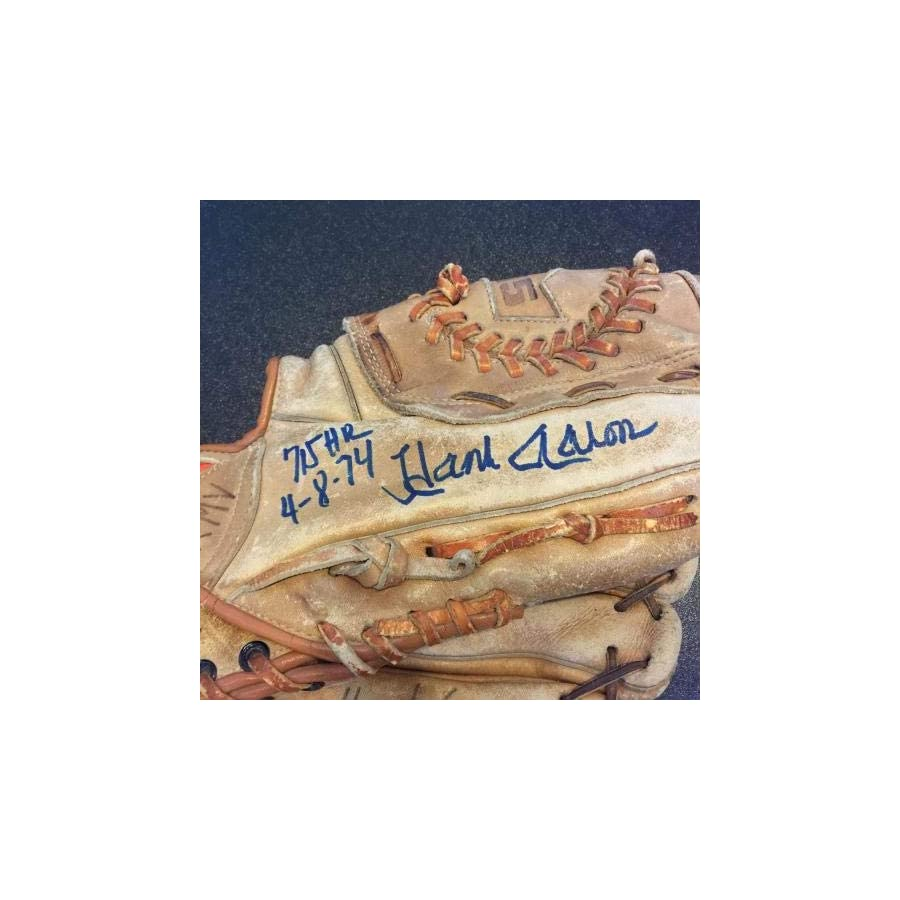 "Vintage Hank Aaron""715th Home Run 4/8/1974"" Signed Game Model Glove COA JSA Certified Autographed MLB Gloves"