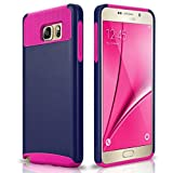 Samsung Galaxy Note 5 Case, E-Mobile Hybrid Dual Layer Shockproof Case for Samsung Galaxy Note 5 TPU + PC 2-Piece Style Soft Hard Cover (Navy Blue/Hot Pink)
