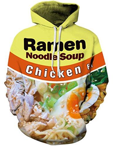 SAINDERMIRA Unisex Fashion 3D Digital Galaxy Pullover Hoodie Hooded Sweatshirt Athletic Casual with Pockets(Noodles II, S/M)