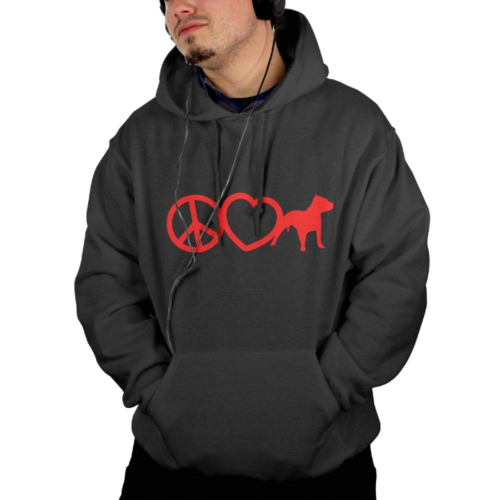 Athletic 100/% Cotton Outwear with Pocket for Men Men Peace Love Pit Bull Dog Hooded Fleece