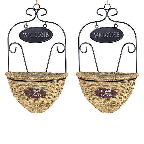 NCYP Wall Hanging Flower Basket Demilune Shape Handmade Woven Planter Flower Pot with Black Metal Scrollwork Design Frame Modern Mounted Decoration Container Gifts 2 Pcs