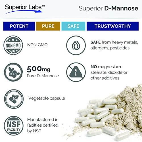 Superior Labs - Best D-Mannose NonGMO Additive Free Dietary Supplement - 500mg, 120 Vegetable Capsules - Powerful Prebiotic - Boosts Urinary Tract Health - Supports Digestive Health & Liver Function
