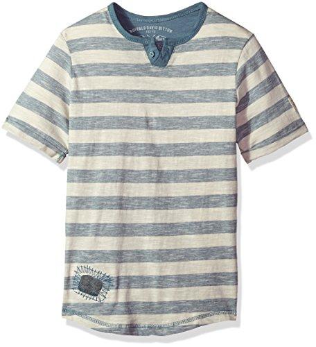 Buffalo by David Bitton Big Boys' Short Sleeve Henley Tee Shirt, Siko Mirage, Large (14/16) (Buffalo Kids T-shirt)