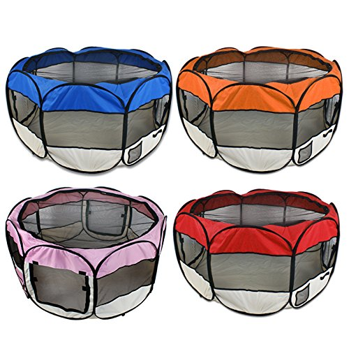 """Zeny 45"""" Pet Puppy Dog Playpen Exercise Pen Kennel 600d Oxford Cloth (Red)"""